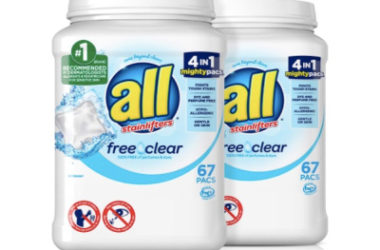 2 Tubs all Mighty Pacs Laundry Detergent As Low As $18.92!