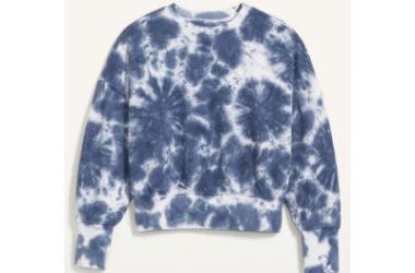 Loose Tie-Dye Cropped Crew-Neck Sweatshirt Just $12 (Reg. $35)!