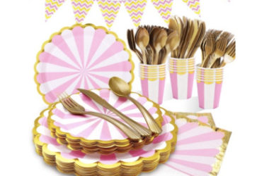 175 Pcs Pink and Gold Party Supplies Just $11.60 (Reg. $29)!